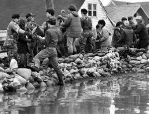 """Pemberton Ditch Sandbags—Flood of 1982,"" by John Stearns, © 2006 News Sentinel"