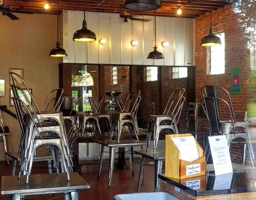 Image of empty coffeehouse through window