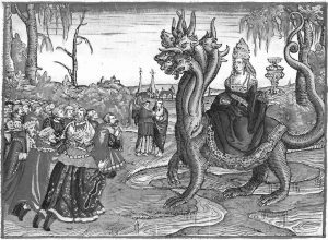 """The Whore of Babylon"" illustration from Martin Luther's 1534 translation of the Bible. Workshop of Lucas Cranach."