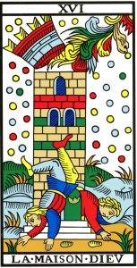 XVI The Tower trump card from the Marseilles deck