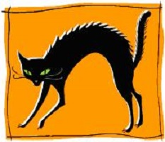 Black cat arching back [drawing]r